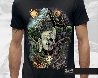 LIFE&DEATH Men t-shirt , buddha skull, Indian deity