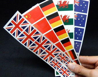 40 Removable Stickers: International World Flags