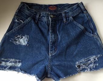 High Waisted Distressed Vinatge 90s Guess Shorts