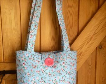 Blue ditsy print tote bag