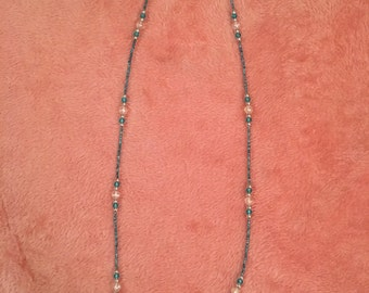 Ice Blue Hand-Beaded Long Necklace
