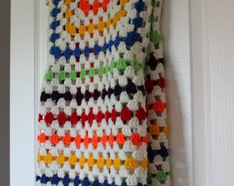 SALE Multicolored Stripe Crochet Blanket Throw Afghan (Granny Square) - Ready To Ship
