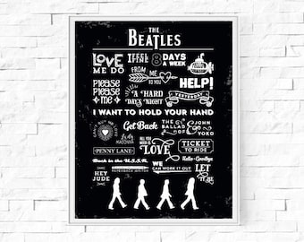 The Beatles Digital Print - Instant Download - The Beatles Singles - Black & White - Contemporary Art - Typography Print - 8x10 A4 Scalable.
