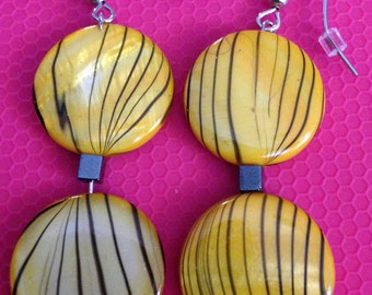 Black and Yellow Drop Earrings