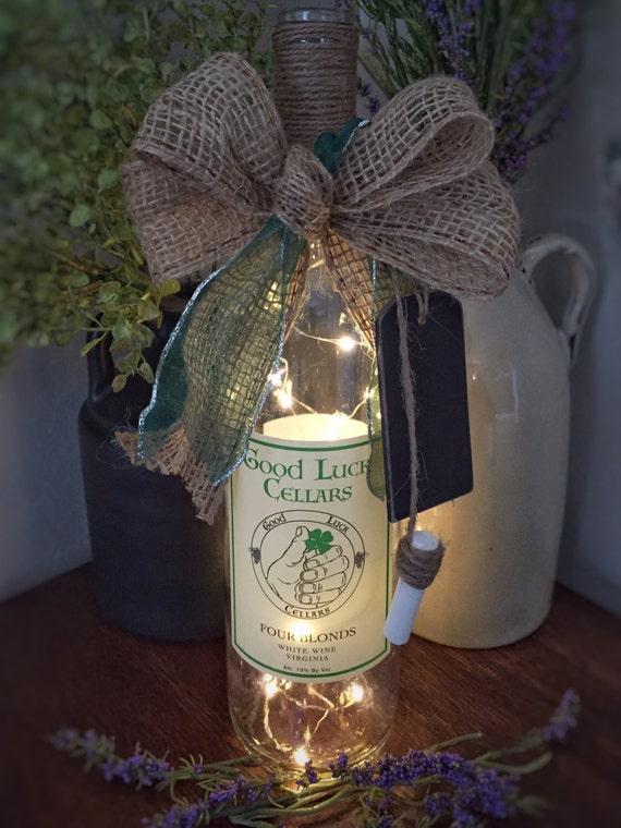 Good Luck/Fairy Light Lamp/Wine Bottle Decor/Cordless Bottle Light /St Patrick's Day/Wine Lover Gift/FollowthePotomac/Blonde Best Friend