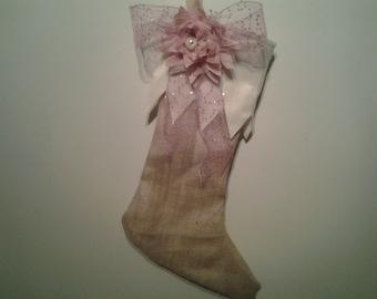 Girlie  burlap christmas stocking