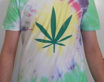 Tie Dye Weed Leaf T-Shirt