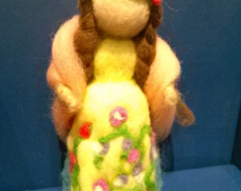 Waldorf inspired felted doll/figure. SPRING