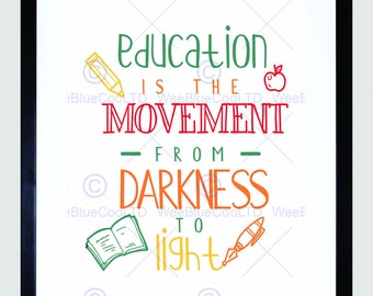 Quote Print - Education Light Motivation Inspirational Typography Art Print Poster FEHP1344