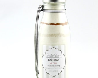 Bread mix for Grill bread with Chili, bread baking mix in the bottle, ideal as a gift, gifts