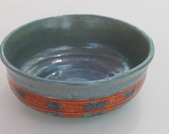 Blue and Burnt Orange Checkered Bowl