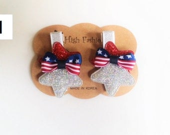 American Flag &Stars hairclip set,Memorial Day, 4th of July Accessories