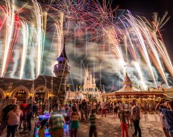What A Little Wishing Can Do - Fireworks Photo Print, Canvas Wrap, Magic Kingdom, Walt Disney World, Cinderella Castle, Wishes