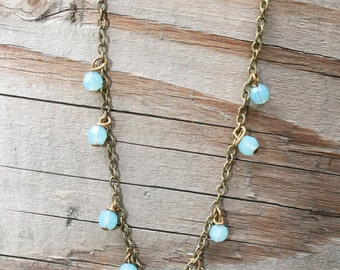 Sea Blue Crystal Necklace - Crystal Beads on a Brass Necklace
