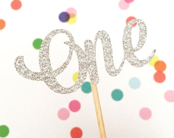 12 Glitter ONE Cupcake Toppers, First Birthday Cupcake Topper, 1st Birthday, Birthday Party, One Cake Topper, Cake Smash Topper