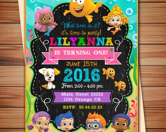 Bubble Guppies party invitation for Girl, Bubble Guppies digital chalkboard invitation, thank you card free! print it yourself!