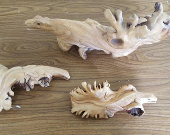 Hand-Carved Wooden Indonesian Dragons