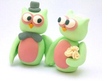Owl Wedding Topper, Wedding Owls, Bride Groom Owls, Owl Cake Topper, Rustic Wedding Topper, Cute Animal Topper, Owl Topper, Clay owls