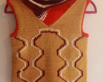 Sleeveless knitted hand, jacket, sweaters, cardigan, gift, original, on measure, girl, boy, woman, man, made in france