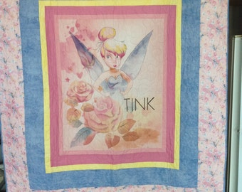 Child's Tinkerbell quilt, pink border