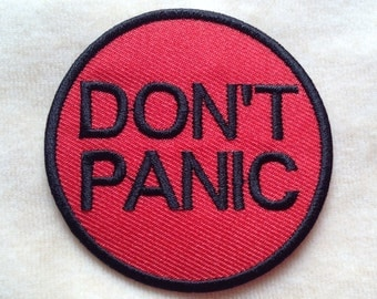 Don't Panic Iron On Patch #Red With Black