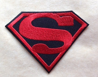 Superman Super Hero Logo Iron On Patch #Black With Red