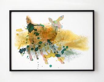 Baby deer watercolor Wildlife decor Animal art EM307