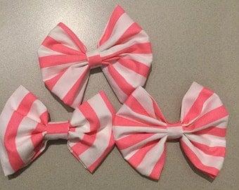 Peach Stripes Hair Bow