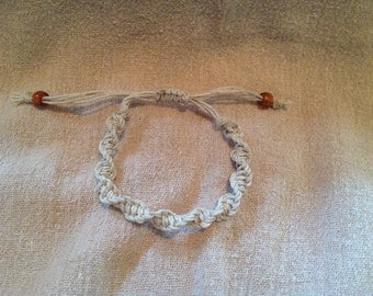 Cream Spiral Macrame Bracelet with Hemp Cord