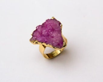 Pink Druzy Ring - 18k Gold Plated