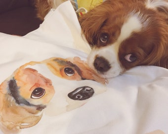 King Charles Cavalier Spaniel. Art Tote Bag. Unique Design. Handmade. Shopping Bag. Chillinpepper_thecavgirls. Pure Cotton/Lining. Pet Lover