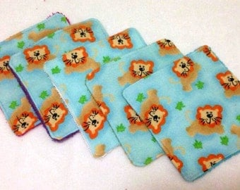 Reusable Baby Wipes - 5 Pack - Cloth Baby Wipes - Washable Baby Wipes - Lion Print Baby Wipes - Terry Baby Wipes - Flannelette Baby Wipes