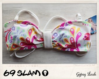 69Slam pastel bikini bandeau top with attachable straps- size small and matching bottoms size small/medium