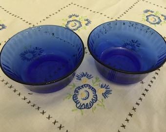 Set of 2 Colorex Cobalt Blue Glass Bowls/Ramekins/Custard Dishes