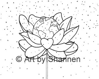 Earth Day Illustration - PDF Only, Printable Colouring Page