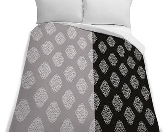 Two Tone Printed Queen Size Duvet Cover