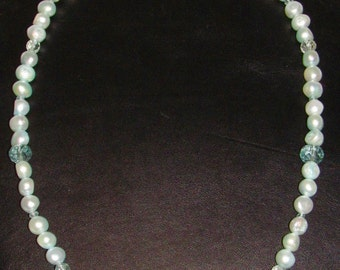 Fresh water pearl and aqua marine necklace