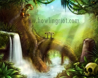 Fantasy Jungle forest landscape Canvas