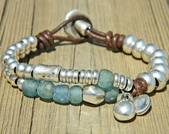Wrap Boho bracelet,wrap bracelet,leather wrap bracelet,beaded wrap bracelet,leather bracelet, silver plated,beaded bracelet,PV003