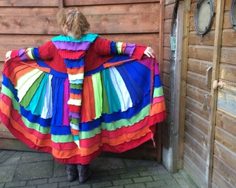 beautiful Katwise inspired up-cycled sweater rainbow coat