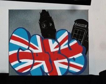 LONDON painting custom graffiti name canvas