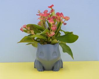 Small Bulbasaur planter/ Pokemon planter/Succulent Planter/3D printed/blue gray planter/cactus planter/gift for her/