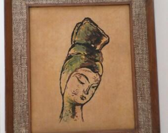 Vintage 1960's Handmade BATIK Art in Ornate Wooden Frame