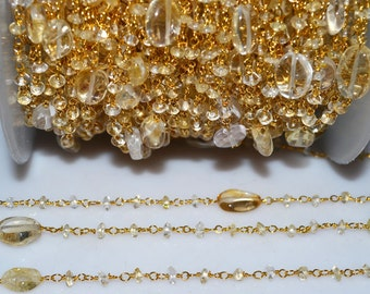 Beautiful Citrine Rosary Beaded Chain-Citrine Faceted Gold Wire Wrapped Beaded Chain , 3 mm - RB5150