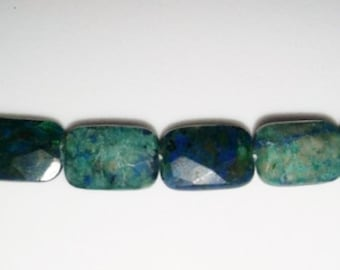 Azurite beads rectangle beads faceted beads blue stone beads green stone beads semiprecious stone semiprecious beads 8x12mm beads azurite