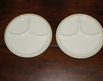"""Two Vintage Homer Laughlin Divided Plates 8 1/4"""""""