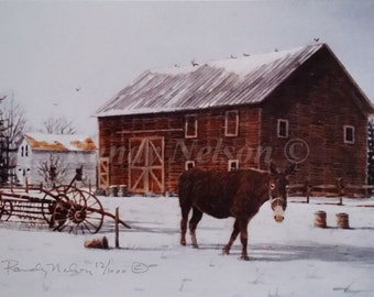 Barn Painting, Winter Farm Scene with Mule and Hayrake, Acrylic, Print, Signed and Numbered.Framed prints available.Please select an option.