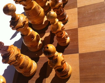 Vintage Wooden Chess Set, 17 1/2 x 17 1/2 inches, Wood Chess Set, Wooden, Missing the Rook, old wooden chess set, folds up to put pieces in