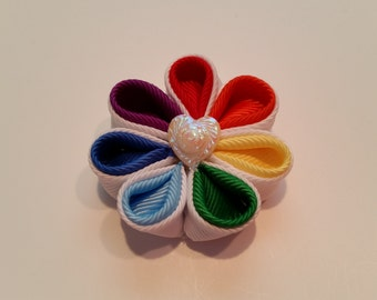 Rainbow flower hair clip, kanzashi flower