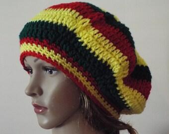 Crochet beret rasta hat, colorful beret